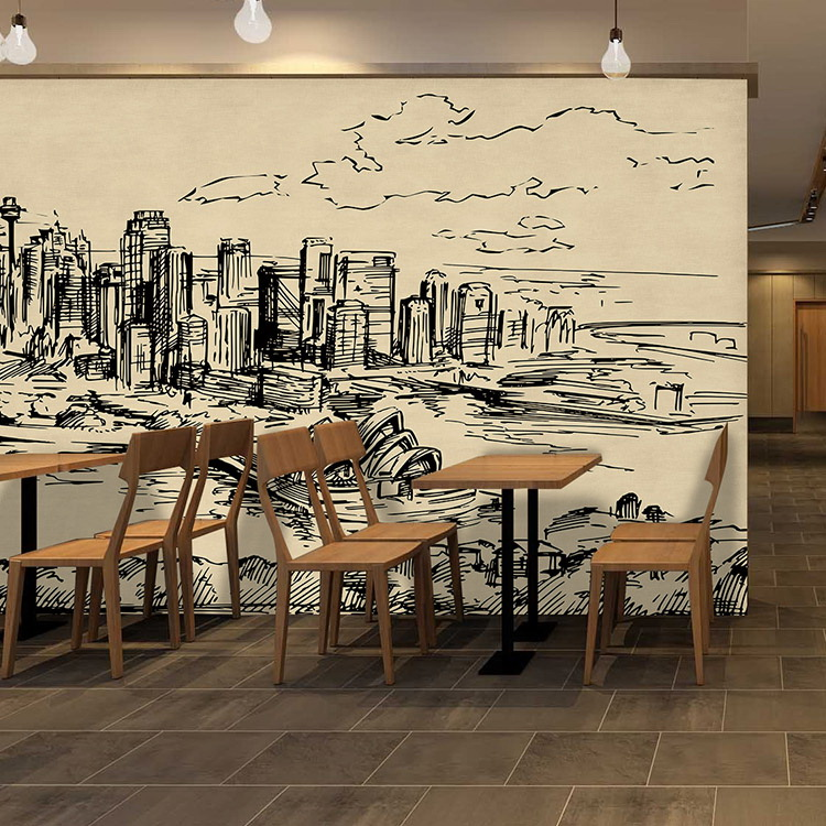 Wallpaper fabric picture more detailed picture about for Black and white london mural wallpaper