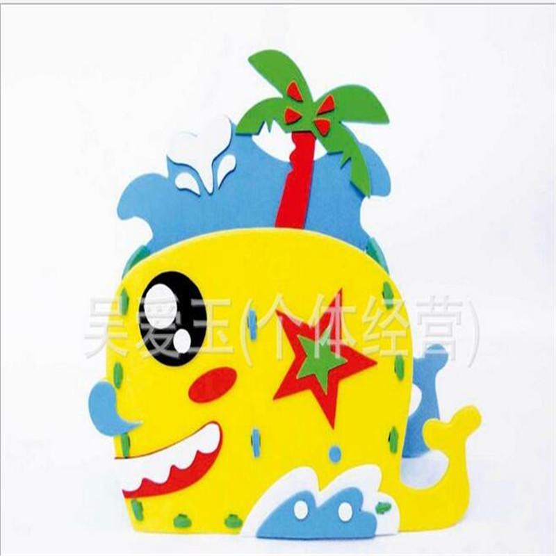 5pcs/lot Cartoon Kids Pen case 3d DIY sewing bag Puzzle Kindergarden EVA Handmade Crafts Children gift(China (Mainland))