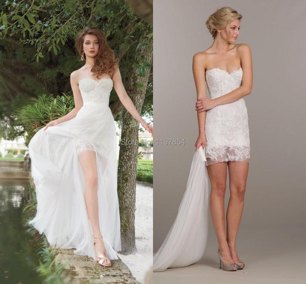 Detachable skirt wedding dress sweetheart backless sexy for High low sweetheart wedding dress