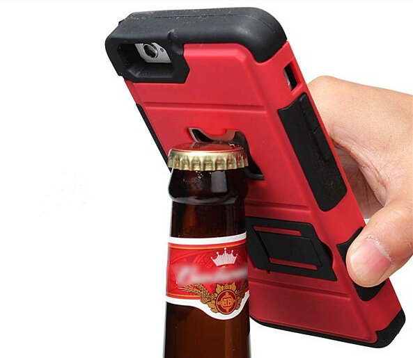 Hot !!! Beer bottle opener a mobile phone cases case for iPhone6 4.7 Silicon+pc 2 tier mixture holder rear cover free shipping(China (Mainland))