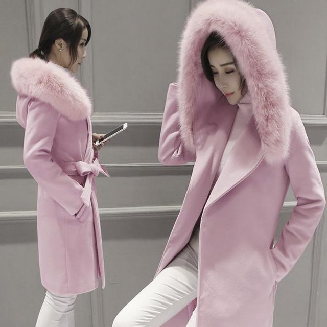 Зима осень теплые женщины длинные толстая кашемир куртки искусственного меха пальто шерстяное женский туника Пальто кашемировые пальто куртки Плюс Размер