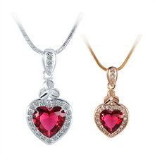 Brand Fashion Jewelry Crystal Necklace Lovely Heart Pendant Silver Gold Chain Necklaces for Best Friends Gift