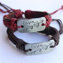 Ajojewel 2Pcs/lot Charm Double Heart Love Leather Bracelet Handmade Fashion Cheap Couple Jewelry For Men and Women(China (Mainland))