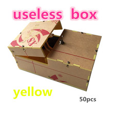 wholesale yellow 50pcs Useless Box Kit Leave Me Alone Box Great Geek Gift(Fully Assembled,DIY Version) fun toys Electric Toy(China (Mainland))