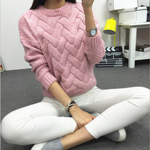 2015 New Women's Coarse Wool mottled Sweater Woven Grid Variegated Plaid Warm Spring Autumn Winter Casual Long Sleeved Pullover(China (Mainland))