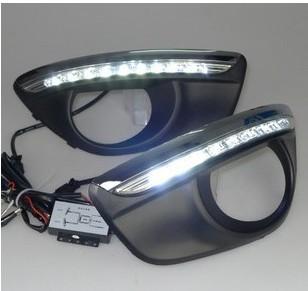 Free shipping 12V DRL LED Car light DRL Daytime Running Lights Hyundai Santa Fe 2010-12 with fog light