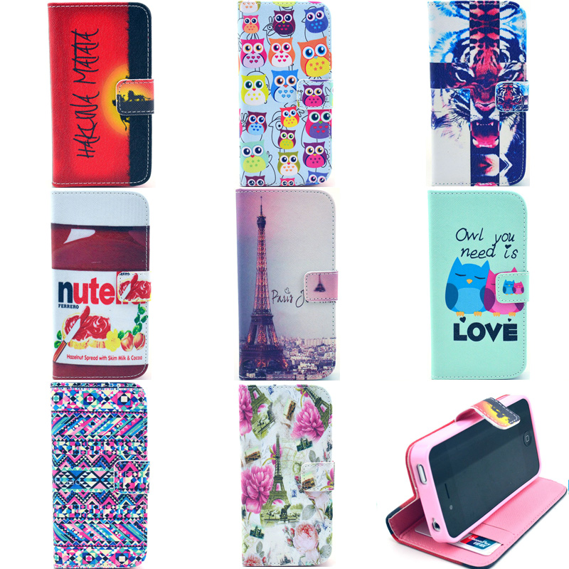 Phone Cover For iphone 4 4s Stand Flip Shell For Apple iphone4 iphone4s bags Fundas Case Coque Leather Wallet Holder tiger owl(China (Mainland))