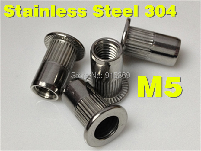 50x M5 stainless 304 Rivet Nut stainless steel insert nut PEM large flange insertnut a2 threaded insert(China (Mainland))