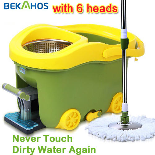 360 easy life Spin Rotate Magic Mop & Bucket & 6 Heads as seen on tv High Quality Dropping Shipping(China (Mainland))