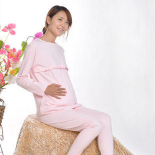 100% cotton maternity long johns long johns top nursing trousers adjustable autumn and winter underwear set(China (Mainland))