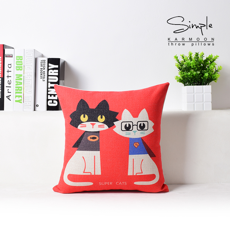 Cute Cartoon Cat Pattern Pillow Case Home Decorative Cotton Linen Square Cushion Cover Sofa/bed/cars Nap Throw Pillow Cover