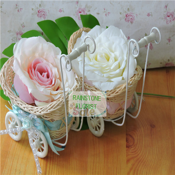Birthday Party Gift 15cm 10pcs Wedding Home Furniture Table Decor Marriage Baby Wheelbarrow Basket White Vase vasos decorativo(China (Mainland))