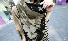 1 PCS Fashion chiffon big star style chequered with black and white womens' scarves #0601