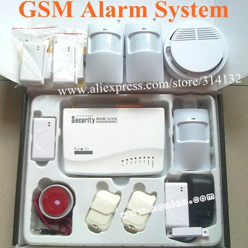 GSM alarm system with SMS,voice,call+ 3 PIR sensor + 4 door sensor + 1smoke detector(optional), free shipping
