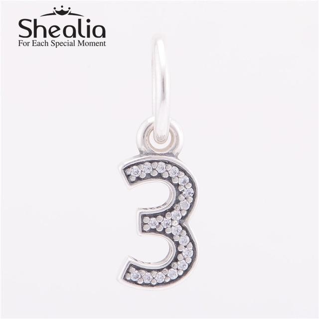 Shealia стерлингового серебра 925 номер три мотаться подвески подвеска с четкими CZ для женщин известный браслета поделки изготовления ювелирных изделий LE1403