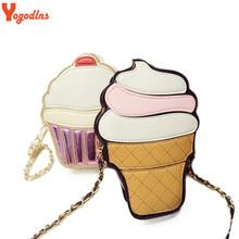New Cute Cartoon Women Ice cream Cupcake Mini Bags PU Leather Small Chain Clutch Crossbody Girl Shoulder Messenger bag(China (Mainland))