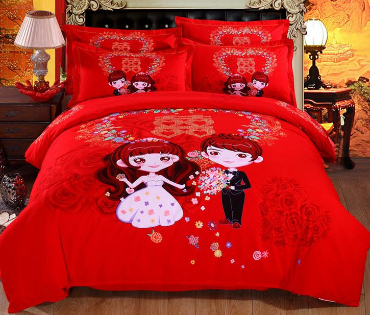 Chinese red Wedding Bedding Sets thickening Sanding quilt cover flat sheet and pillowcases queen king size with free shipping(China (Mainland))