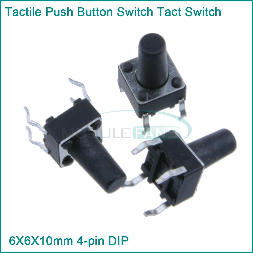 Гаджет  100Pcs Tactile Push Button Switch Tact Switch 6X6X10mm 4-pin DIP None Электронные компоненты и материалы