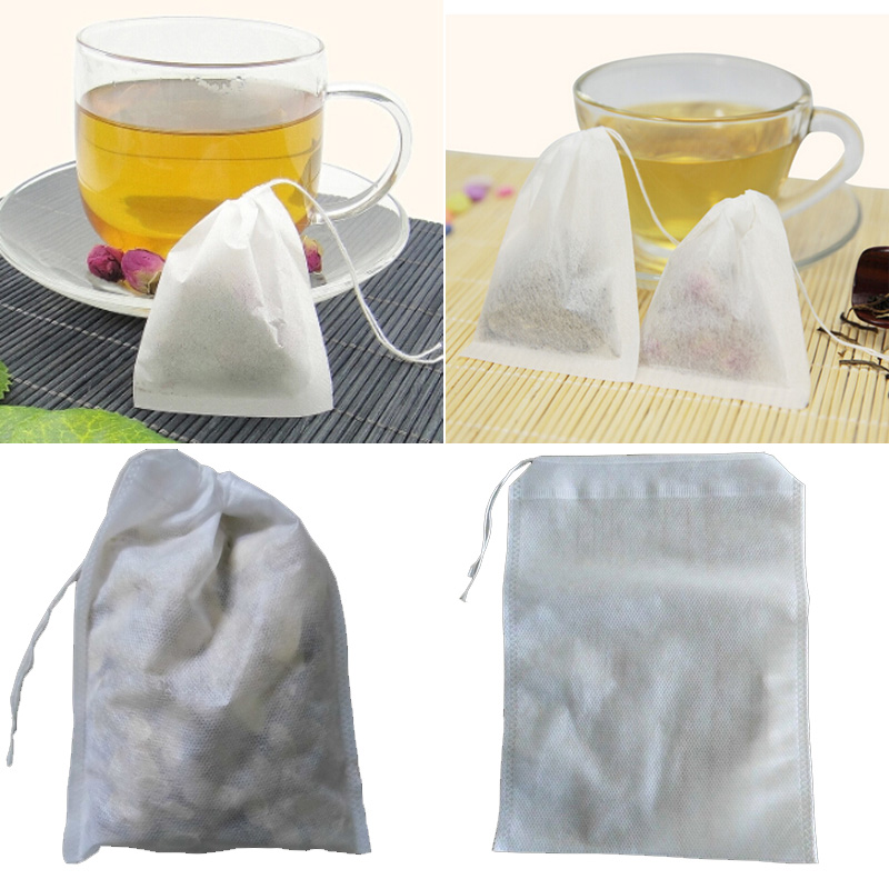 1Set/100PCS Free Shipping High Quality White Paper Herb Loose Tea Bags Teabag Empty Teabags with String Heat Seal Filter(China (Mainland))