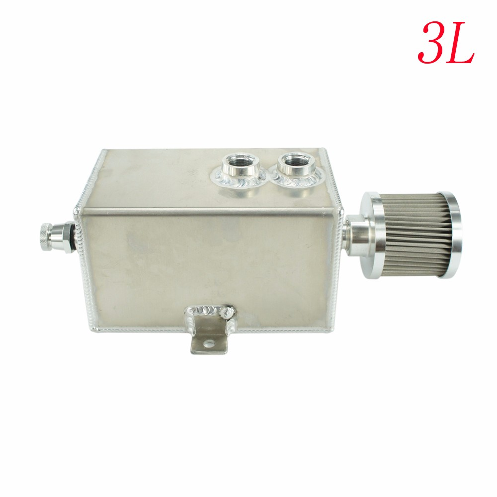 3L Aluminum Racing oil catch can tank with breather & drain tap 205*120*120mm Fuel Tanks Oil Catch Tank YC100709-SL