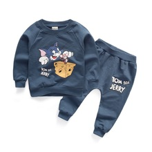 "New cotton baby clothing sets cartoon tops + ""TOM and JERRY"" pants tracksuits for toddler boys girls clothes autumn infant suits(China (Mainland))"