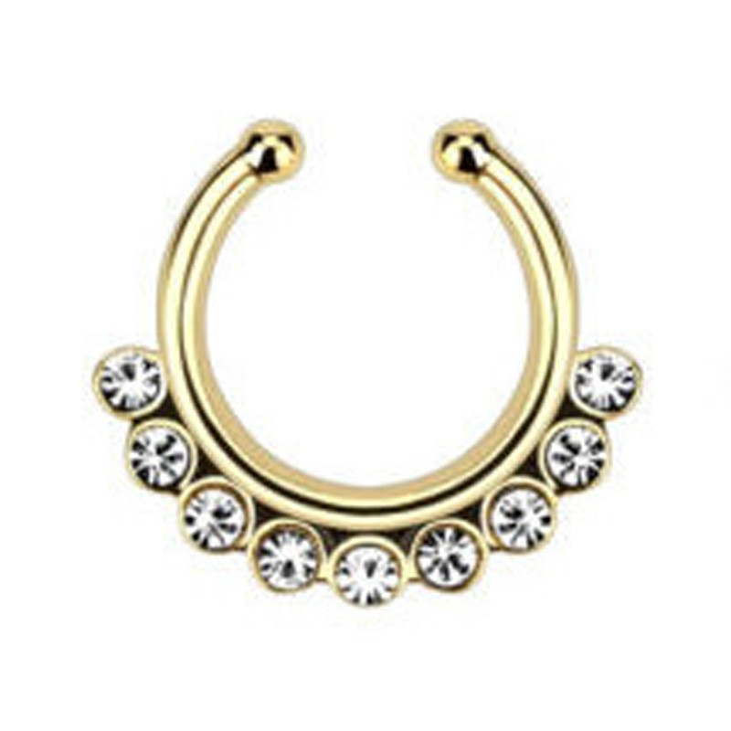 Wow Amazing Hot Classical Designs Pierced Crystal Nose Hoop  Fake Septum Women Faux Piercing Nose Rings Hanger Body Jewelry