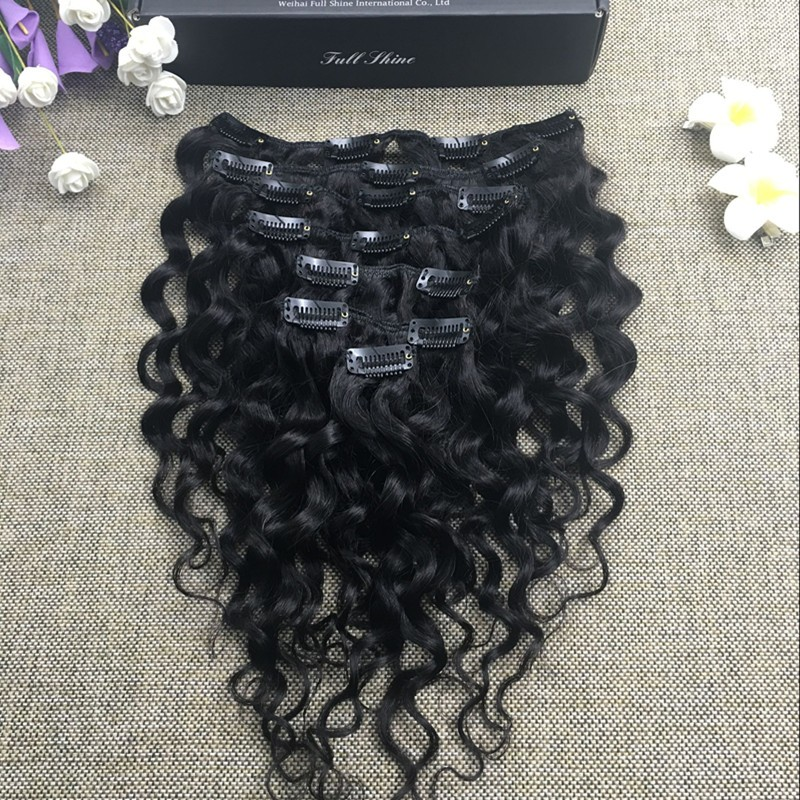 Full Shine Peruvian Water Wave Clip in Human Hair Clip in Extensions Wavy Clip in Afro Hair Extension for Blacks Women 7 Pcs/Set