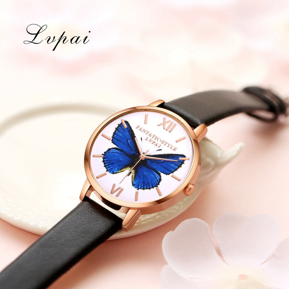 2017 Hot Sale Lvpai Luxury Brand Women Bracelet Watch Leather Butterfly Quartz WristWatches Women Dress Watches Christmas Gift