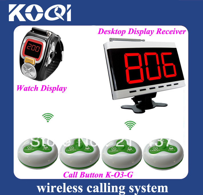 Wristwatch Wireless Waiter Server Call Paging System Guest pager Sound/Vibration (1K-303+2K-200C+20K-O3) DHL free shipping free(China (Mainland))