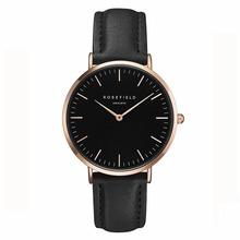 ROSEFIELD Watch Golden Genuine Leather Quartz Movement Water Resistant 3ATM Watch Women Dress Men Sports Famous Brand Watch