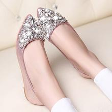 Мода женской обуви весна 2016 золотой серебряный острым носом квартиры горный хрусталь лодка обувь KJ358(China (Mainland))