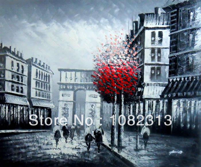 """Hand-painted Canvas Signed Oil Painting 24""""X20"""" Paris Street Red Tree Eiffel Tower White Black P4-08(China (Mainland))"""