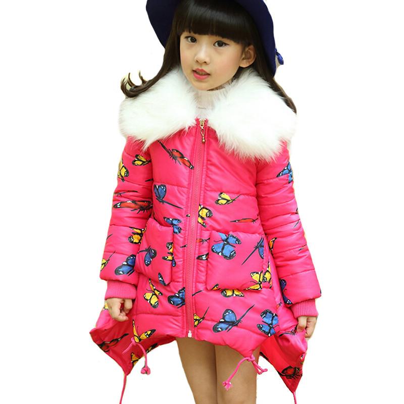 2015 New Girls Clothing Girl Winter Jacket Butterfly Cotton Children Coat Parka Fur Collar Teenage Outwear Warm Parkas