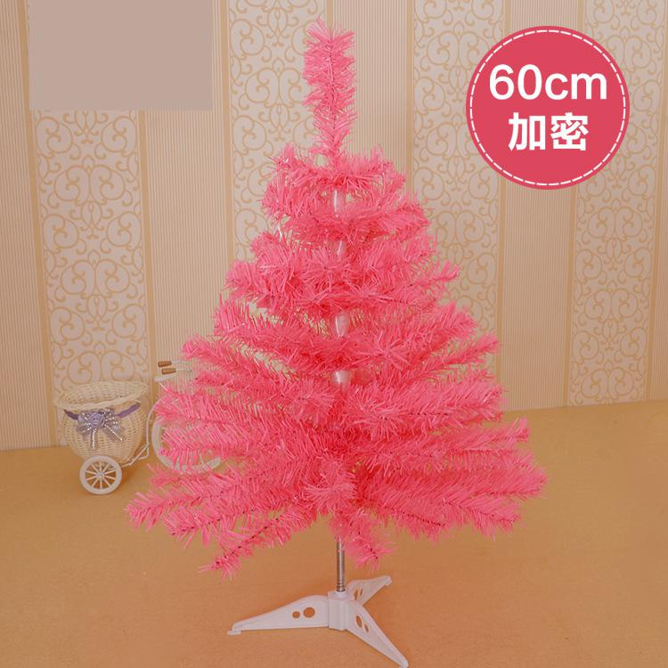 60cm pink color Christmas tree creative small mini-encrypted pale table Decoration Christmas ornaments red blue gold silver(China (Mainland))