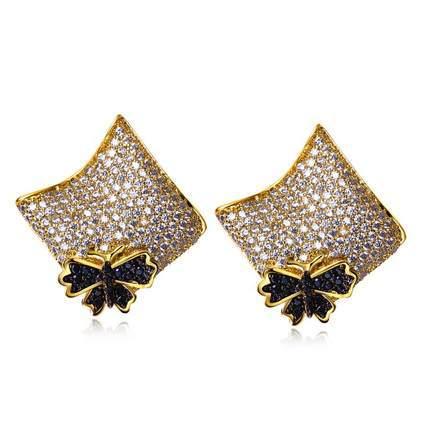 Mansaku Women Fashion Stud Earrings AAA Quality Cubic Zirconia Earrings butterfly Prong Setting Bridal Wedding Jewelry(China (Mainland))