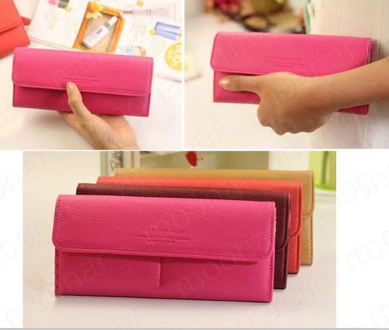 women's PU envelope clutch bag long leather Wallet Ladies designer Purse Checkbook Handbag WB489(China (Mainland))