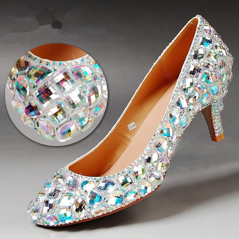 2015 new wedding shoes fashion colorful rhinestone dress shoes round toe women shoes low heels bridal shoes Bridesmaid pumps<br><br>Aliexpress