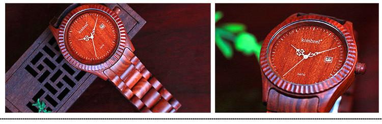 Мода Красный Sandlwood Часы Для Мужчин С Календарь многофункциональный Водонепроницаемость Кварцевые Часы