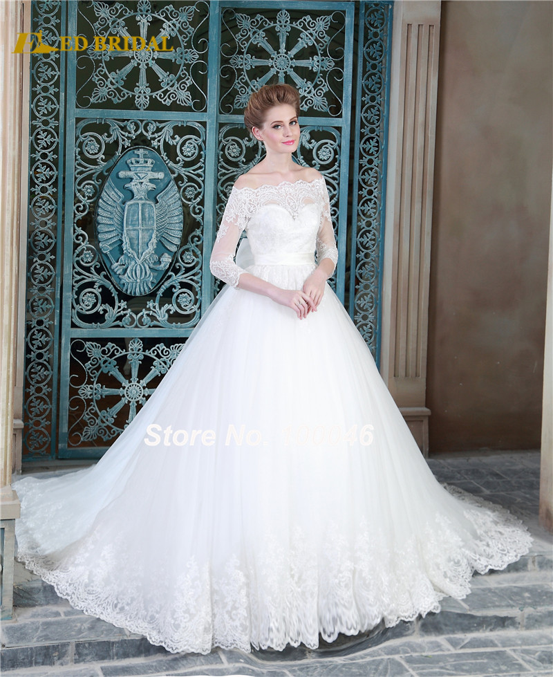 Long sleeve lace wedding dresses sexy off the shoulder for Vintage off the shoulder wedding dresses