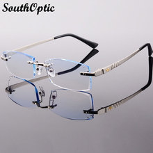2015 New Arrival Titanium Rimless Eyeglasses Men Korean Optical Frame Including 1.61 Asphereic Tinted HMC UV400 EMI Lenses 8070