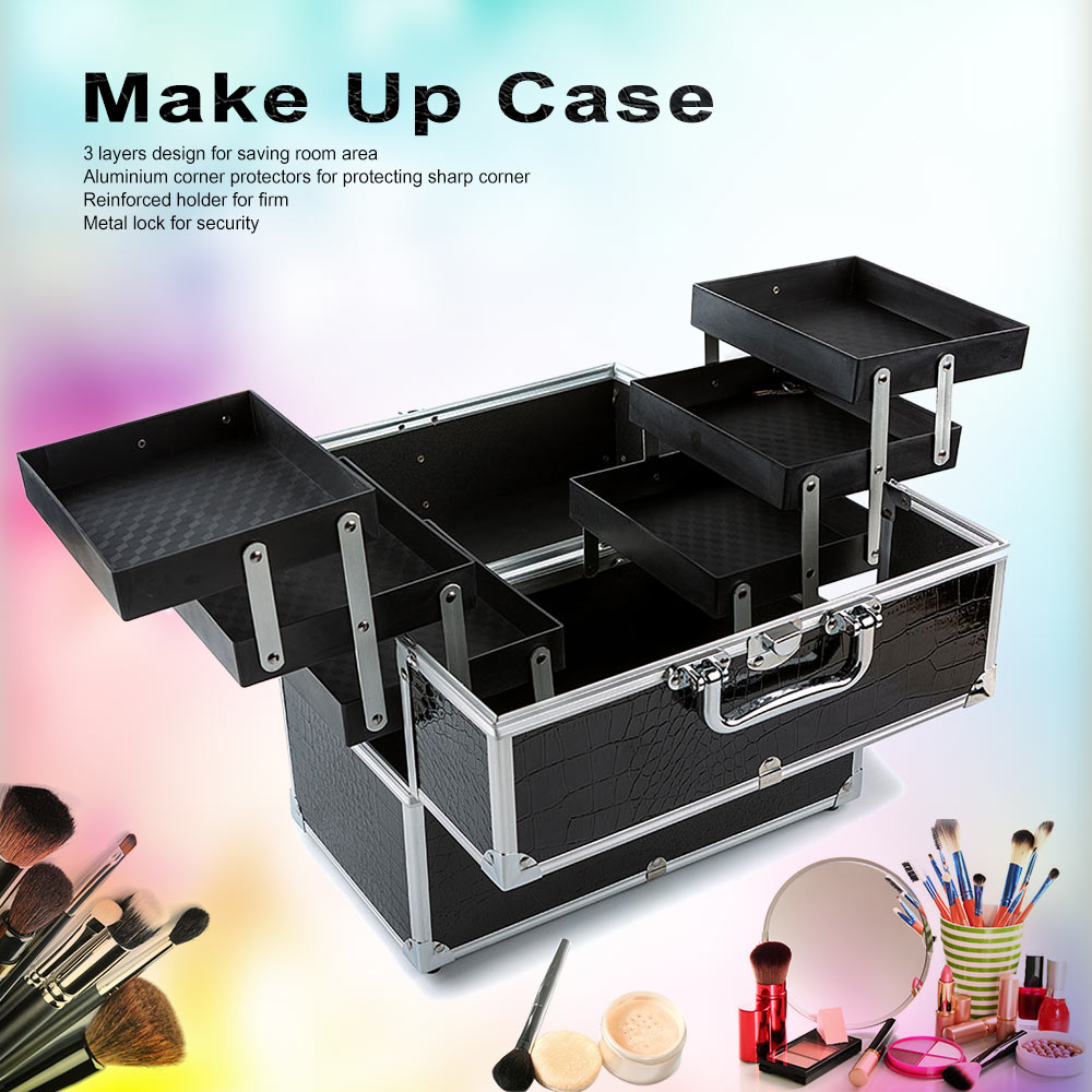 3-Layer Large Make Up Case Cosmetic Organizer Box Professional Containing Storage Case Make Up Tools Accessory Black #WFA-1232