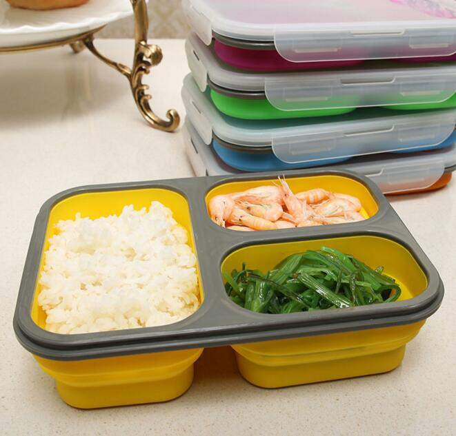 1100ml silicone collapsible portable lunch box bowl bento boxes folding food storage container. Black Bedroom Furniture Sets. Home Design Ideas