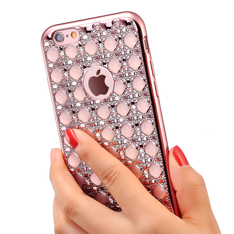 Unique Design Women Phone Case For iphone 6 6s Protective Coque Crystal Diamond Soft Back Covers For iphone 6 6s Plus Fundas(China (Mainland))