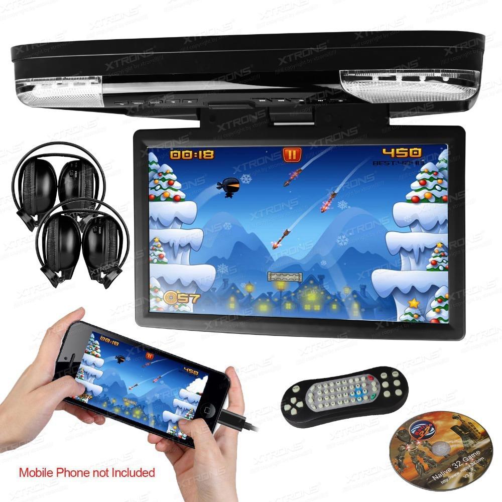 "XTRONS HDMI 15.6"" HD 1080P LCD Car Roof Mount Flip Down DVD Player Monitor Game Video USB(China (Mainland))"