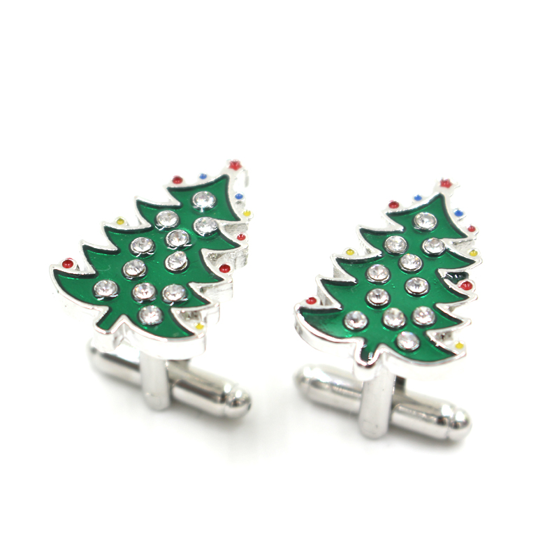 Free shipping Christmas Cufflinks green color xmas tree design men cufflinks whoelsale(China (Mainland))