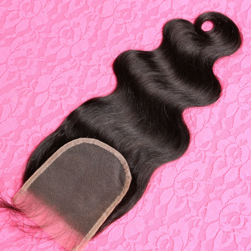 Free Part / Middle Part Lace Closure Brazilian Body Wave Closure 3.5*4inches Human Hair Top Lace Closure Bleached Knots(China (Mainland))
