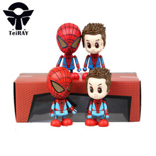 2pcs/set Anime Marvel figma Spiderman figures the amaziing spiderman pvc action figure toys doll juguetes free shipping 8cm3.15″