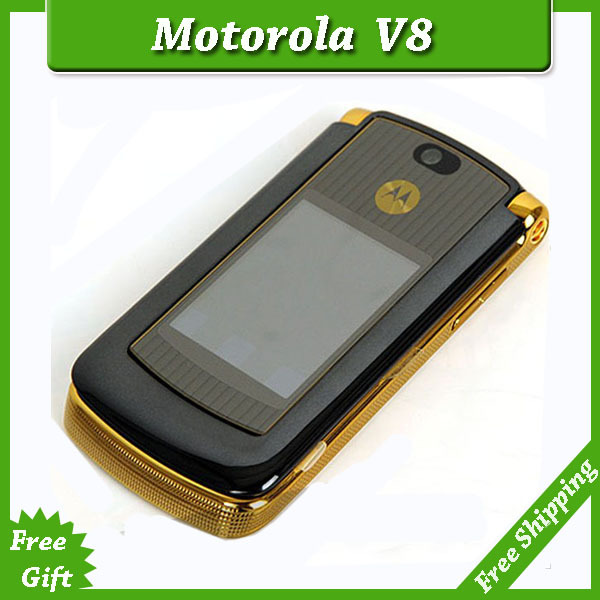 Refurbished original unlocked motorola razr v8 mobile phone Gold with 512 or 2GB internal memory luxury version free shipping(China (Mainland))