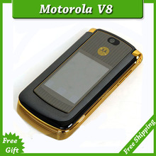 Refurbished original unlocked motorola razr v8 mobile phone Gold with 512 or 2GB internal memory luxury version free shipping(China (Mainland))