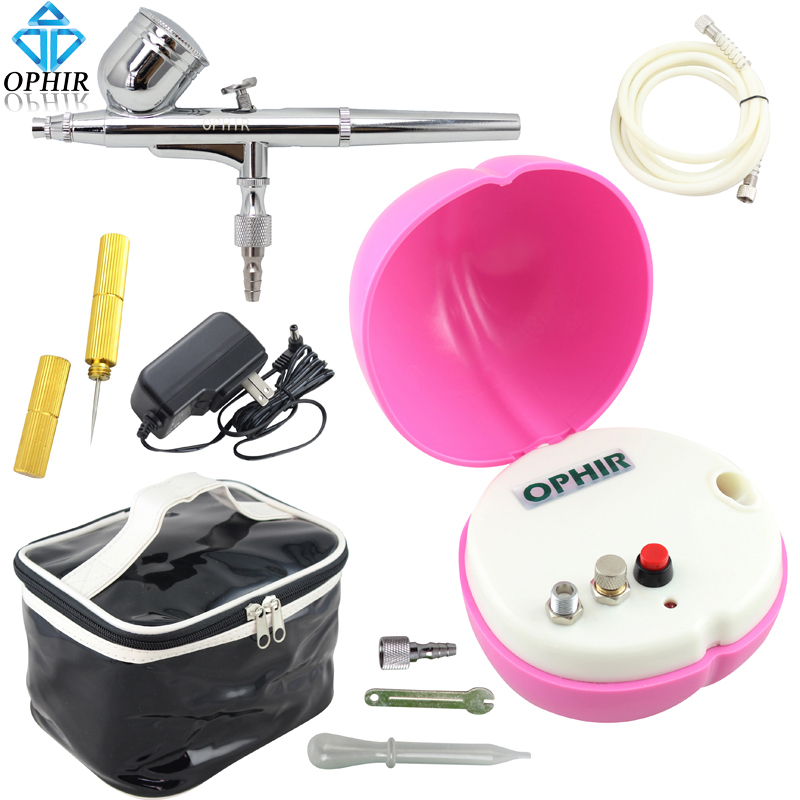 OPHIR Pink Air Compressor with Dual Action Airbrush Kit ...